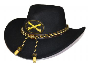 Black Slouch Hat Black Gold Cord & Cavalry Badge
